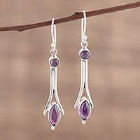 Amethyst dangle earrings, 'Purple Embrace' - Artisan Crafted Sterling Silver and Amethyst Dangle Earrings