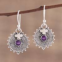 Amethyst dangle earrings, 'Purple Sunbeams' - Indian Amethyst and Sterling Silver Round Dangle Earrings