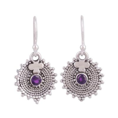 Amethyst dangle earrings, 'Purple Sunbeams' - Indian Amethyst and Sterling Silver Round Dangle Earrings