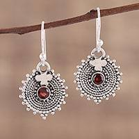 Garnet dangle earrings, 'Scarlet Sunbeams' - Indian Sterling Silver and Garnet Round Dangle Earrings