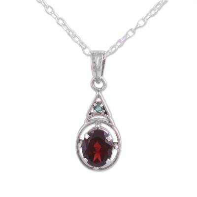 Garnet and Emerald Pendant Necklace from India