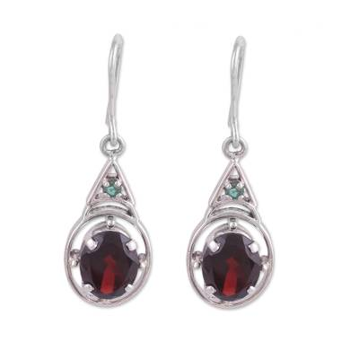 Garnet and Emerald Dangle Earrings from India