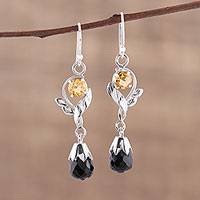 Onyx and citrine dangle earrings, 'Glistening Night' - Leaf Motif Onyx and Citrine Dangle Earrings from India