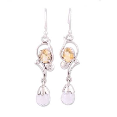 Crystal and citrine dangle earrings, 'Golden Sunshine' - Leaf Motif Crystal and Citrine Dangle Earrings from India