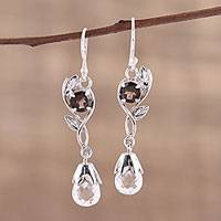Crystal and smoky quartz dangle earrings, 'Regal Dawn' - Leaf Motif Crystal and Smoky Quartz Earrings from India
