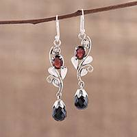 Onyx and garnet dangle earrings, 'Passionate Sparkle' - Leaf Motif Onyx and Garnet Dangle Earrings form India