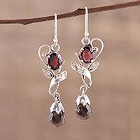 Smoky quartz and garnet dangle earrings, 'Dusk Romance' - Leaf Motif Smoky Quartz and Garnet Earrings from India
