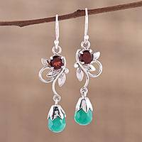 Onyx and garnet dangle earrings, 'Lost in Romance' - Leaf Motif Green Onyx and Garnet Earrings from India