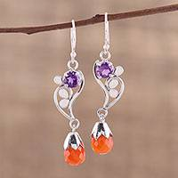 Carnelian and amethyst dangle earrings, 'Afternoon Romance' - Leaf Motif Carnelian and Amethyst Earrings from India
