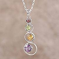 Multi-gemstone pendant necklace, 'Rainbow Palette' - Handmade Multi-Gemstone Pendant Necklace from India