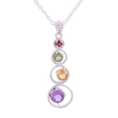 Multi-gemstone pendant necklace, 'Rainbow Palette' - Handmade Multi-Gemstone Pendant Necklace from India