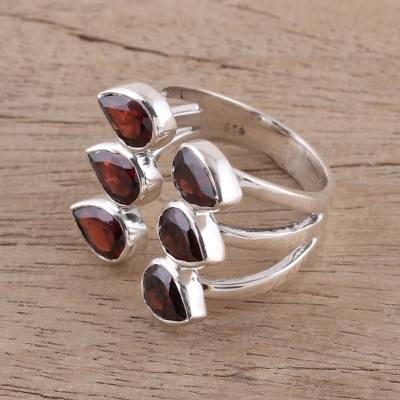 Handcrafted Garnet and Sterling Silver Wrap Ring from India