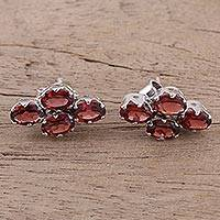 Garnet button earrings, 'Extravagance' - Four Carat Garnet Button Earrings from India