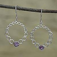 Amethyst dangle earrings, 'Bubble Wreath' - Round Bubble Like Silver Earrings with Amethysts