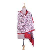 Silk shawl, 'Wild Ivy' - Blue and Red Print Shawl in Pure Bengal Silk
