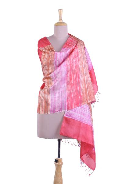 Silk shawl, 'Sweet Delights' - Candy Colored Striped 100% Silk Shawl from India