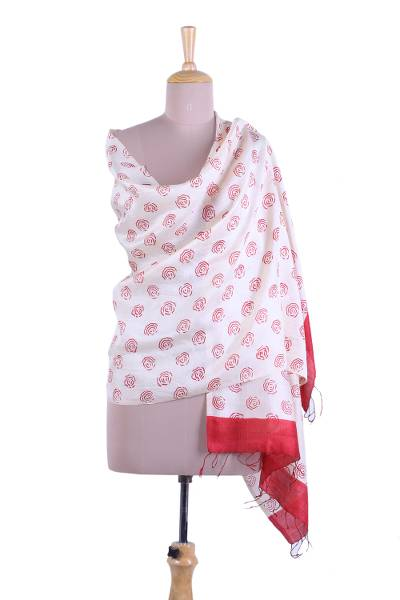 Silk shawl, 'Subtle Rose' - Red and Alabaster Rose Motif Block Printed Silk Shawl