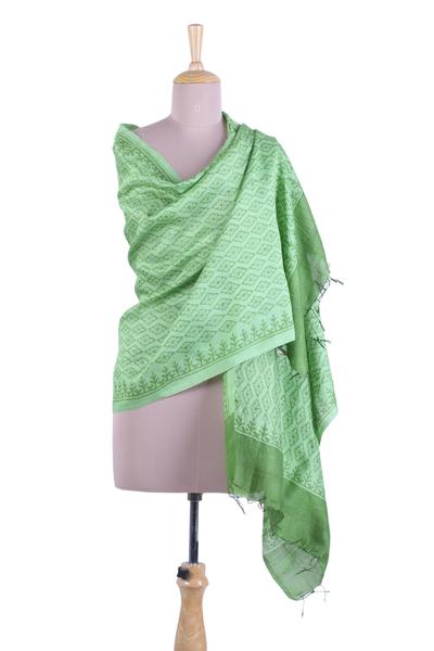 b6d3111a6 Silk shawl, 'Green Diamonds' - Printed Spring Green Silk Shawl Handmade in  India