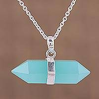 Chalcedony pendant necklace, 'Crystal Energy' - Blue Chalcedony Crystal and Silver Pendant Necklace