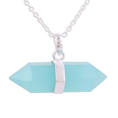 Blue Chalcedony Crystal and Silver Pendant Necklace