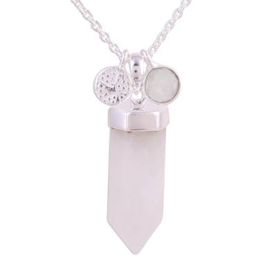 Rainbow Moonstone Crystal Pendant Necklace from India