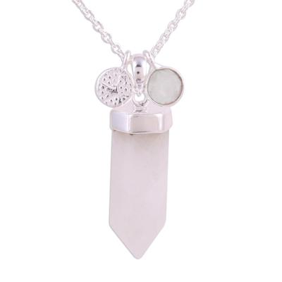 Rainbow moonstone pendant necklace, 'Moonlight Crystal' - Rainbow Moonstone Crystal Pendant Necklace from India