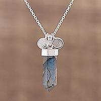 Labradorite pendant necklace, 'Moonlight Crystal' - Labradorite and Sterling Silver Crystal Pendant necklace