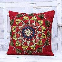 Cotton cushion cover, 'Crimson Glory' - Handmade Crimson Cotton Cushion Cover from India