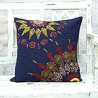 Quilted cotton cushion cover, 'Midnight Sun' - Blue Patchwork Cotton Cushion Cover from India