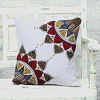 Quilted cotton cushion cover, 'Pure Beauty' - White Patchwork Floral Cotton Cushion Cover from Thailand