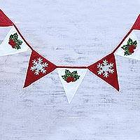 Cotton garland, 'Cozy Christmas' - Red and White Cotton Christmas Garland from India