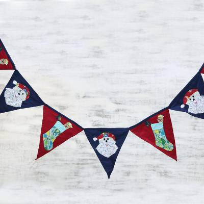 Cotton patchwork bunting, 'Festive Christmas' - Red and Navy Cotton Christmas Bunting from India