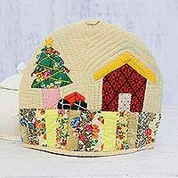 Quilted cotton tea cozy, 'Christmas Time' - Christmas-Themed Patchwork Cotton Tea Cozy from India
