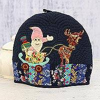 Quilted cotton tea cozy, 'Happy Santa' - Handmade Santa Claus Patchwork Cotton Tea Cozy from India