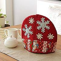 Quilted cotton tea cozy, 'Cherry Snowflakes' - Snowflake Motif Patchwork Cotton Tea Cozy from India