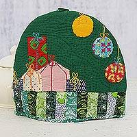 Quilted cotton tea cozy, 'Christmas Presents' - Handcrafted Patchwork Cotton Tea Cozy from India