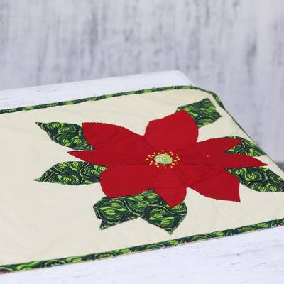 Cotton patchwork table runner, 'Christmas Poinsettias' - Floral Cotton Christmas Table Runner from India