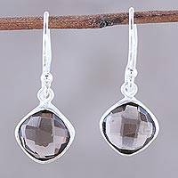 Smoky quartz dangle earrings, 'Sea Glass' - Checkerboard Cut Smoky Quartz and Silver Earrings