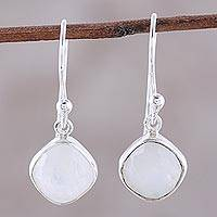 Rainbow moonstone dangle earrings, 'Sea Glass' - Sterling and 4 Carat Rainbow Moonstone Dangle Earrings