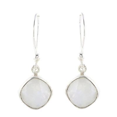 Rainbow moonstone dangle earrings, 'Sea Glass' - Sterling and 4 Carat Rainbow Moonstone Dangle Earrings