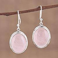 Rose quartz dangle earrings, 'Rosy Sky' - Rose Quartz Cabochon Dangle Earrings from India