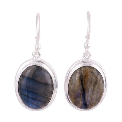 Labradorite dangle earrings, 'Darkening Sky' - Cabochon Labradorite and Silver Dangle Earrings
