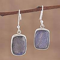 Labradorite dangle earrings, 'Darkening Mist' - 15 Carat Labradorite Earrings in Sterling Silver Bezels