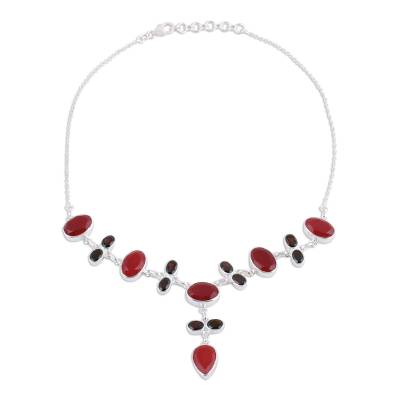Ruby and garnet Y-necklace, 'Blazing Beauty' - Ruby and Garnet Sterling Silver Y-Necklace from India