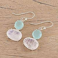 Rainbow moonstone and chalcedony dangle earrings, 'Regal Air' - Aqua Chalcedony and Rainbow Moonstone Hook Earrings