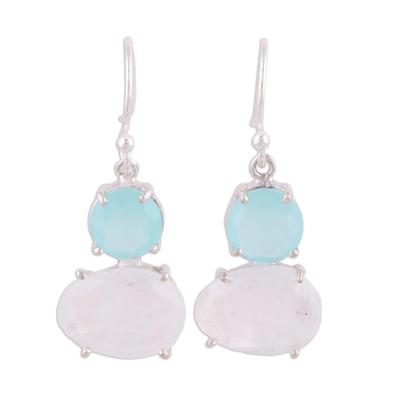 Aqua Chalcedony and Rainbow Moonstone Hook Earrings