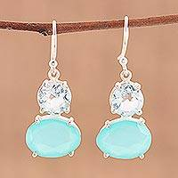 Blue topaz and chalcedony dangle earrings, 'Regal Air' - Blue Topaz and Chalcedony Prong Set Dangle Earrings