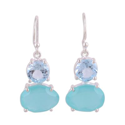 Blue topaz and chalcedony dangle earrings, 'Regal Air' - Blue Topaz and Chalcedony Prong Set Dangle Earrings
