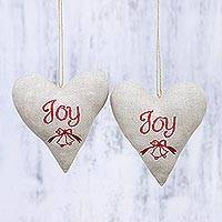 Cotton ornaments, 'Hearts of Joy' (pair) - Two Handcrafted Heart-Shaped Cotton Ornaments from India