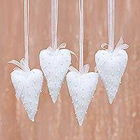 Beaded cotton ornaments, 'Dainty Hearts' (set of 4) - Four Heart-Shaped White Cotton Ornaments from India